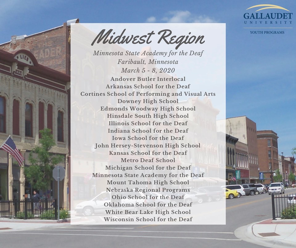 Gallaudet posting showing that MSD has been chosen to participate in the Midwest Regionals!