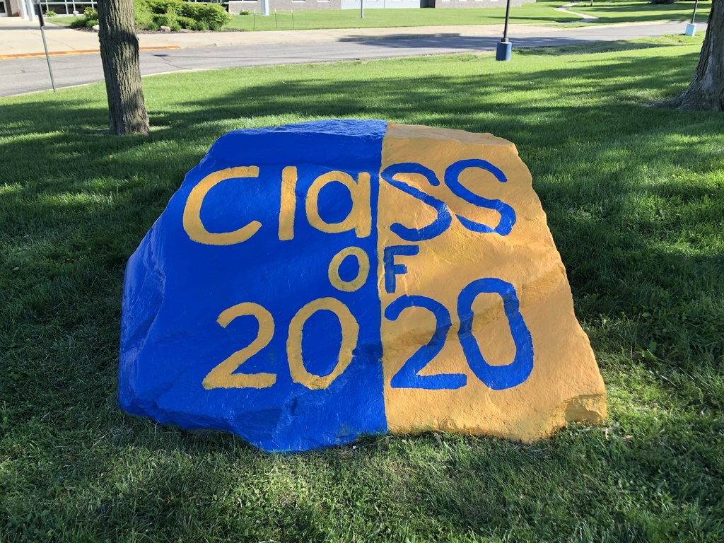 "Finished Rock ""Class of 2020"" in blue and orange"