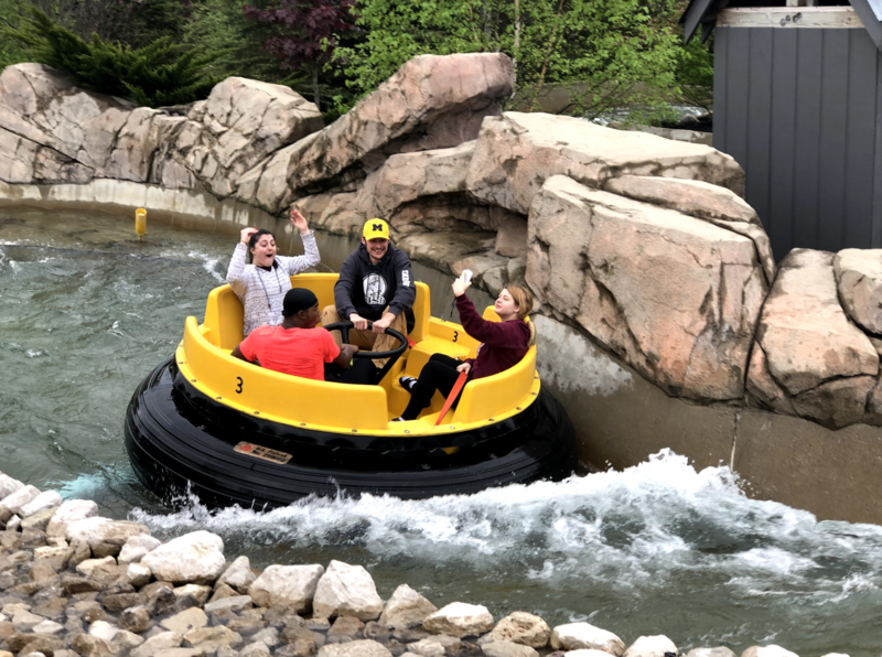 Seniors on a water ride