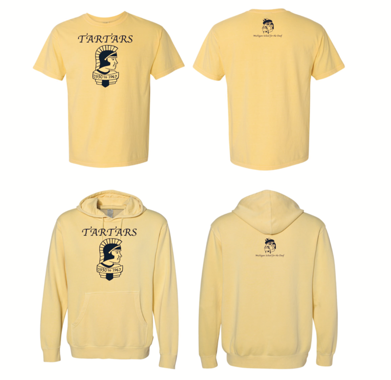 Yellow T-shirts and hoodies with vintage Tartar on the front and current Tartar on the back tag
